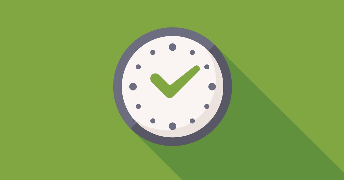Icône d'horloge sur fond vert pour démontrer le temps gagné en contrôle qualité